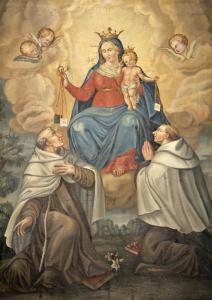 la Madonna in trono con il Bambino nell'atto di consegnare lo scapolare a San Simone Stock